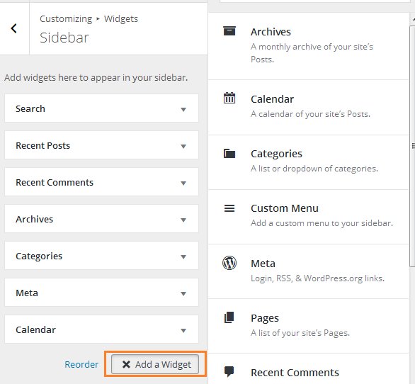 add-widget-customizer WordPress Widgets
