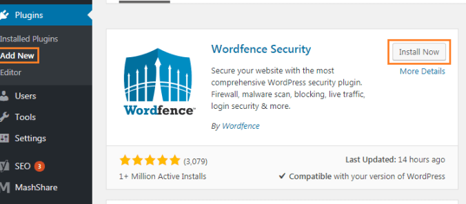 wordfence Install Wordfence Security Plugin in WordPress