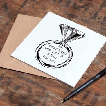 Diamond Ring Engagement – Greetings Card