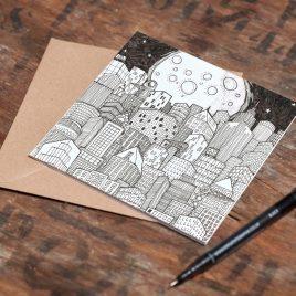 Moon & City – Greetings Card
