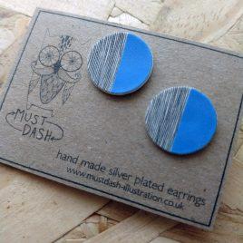 Circular Patterned Earrings – Blue