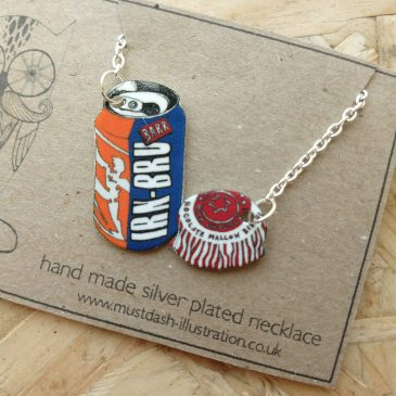 Irn Bru & Tunnocks Teacake Themed Necklace