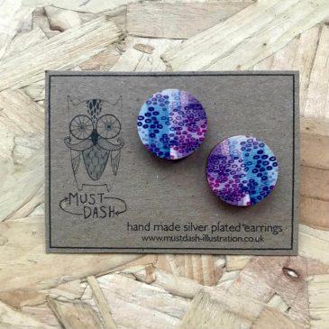 Colourful Geometric Earrings – Circular – Purple & Blue