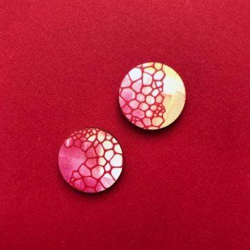 Colourful Geometric Earrings – Circular – Red & Yellow – Pre Order