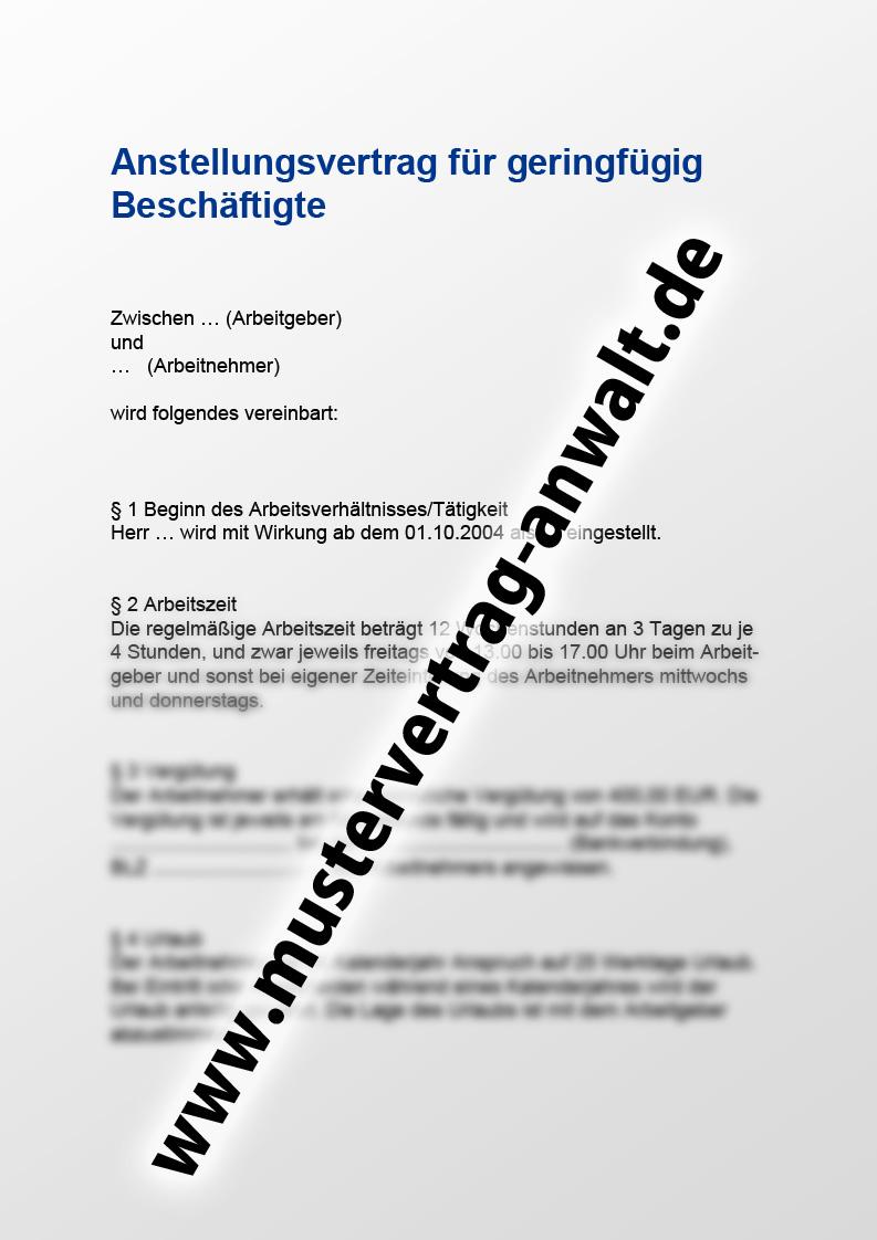 Anstellungsvertrag Fuer Geringfuegig Beschaeftigte Vorschau
