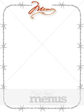 Barbed Wire Border with Red Script Menu  Menu Borders