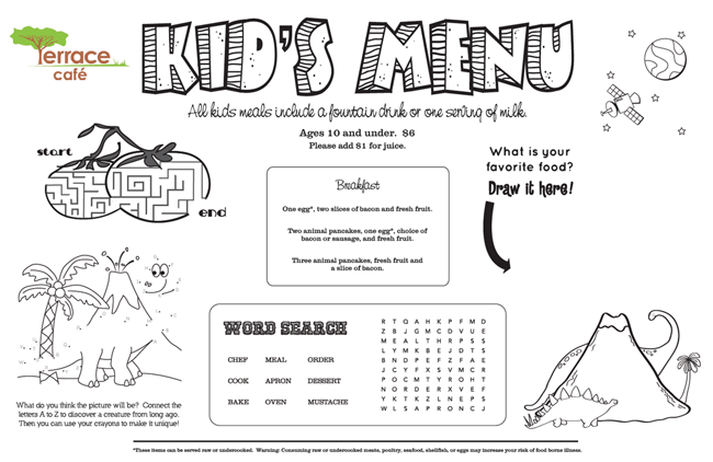Kids' Menu, Kid Menu Designs, Kid Menu Templates