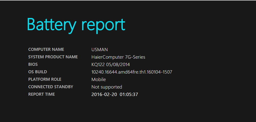 Method to Generate Battery Report in Windows 10