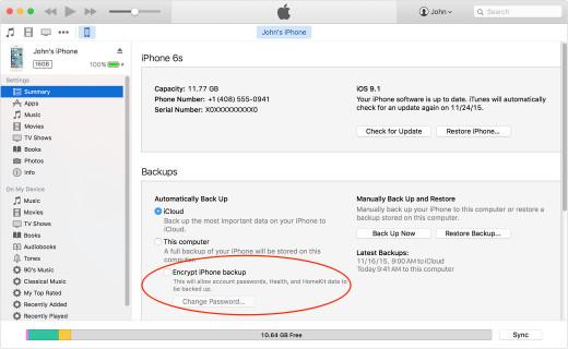 Encrypt iPhone Backup