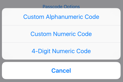 Passcode Options
