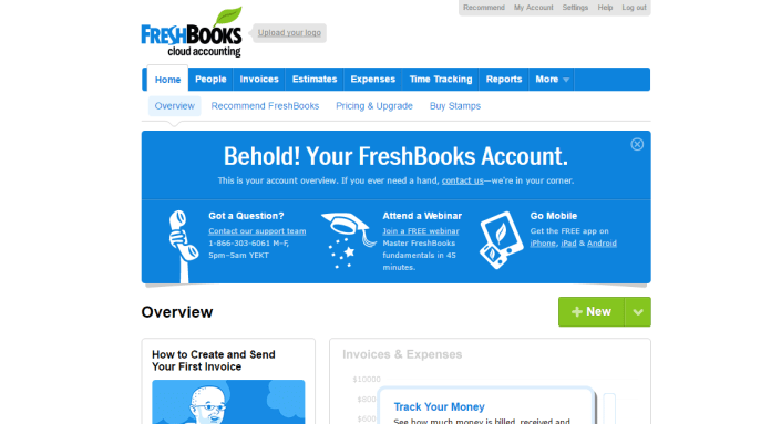 Demo of FreshBooks Dashboard