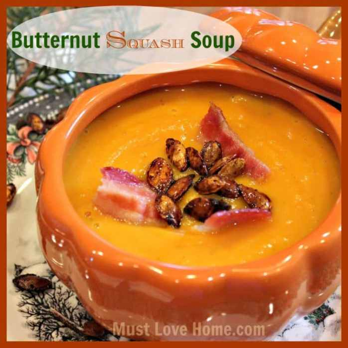 The BEST Roasted Butternut Squash Soup you will ever taste! It is all in the roasting! I never thought I could have Bistro quality soup at home, now I can!