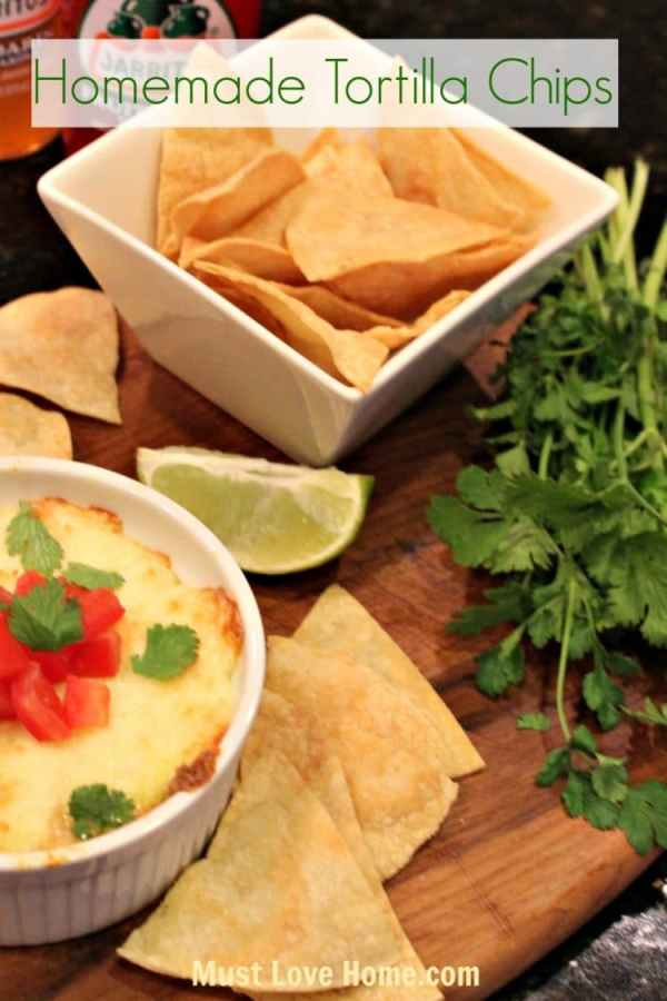 Hot, fresh from the oven Homemade Tortilla Chips have to be about the BEST flavor in the world. It just does not get much better than that, except that these cost so little they are perfect for anyone watching their budget. Huge flavor and a small price, now that is something that every home cook can appreciate!! Perfect for your next Tex-Mex or Mexican Fiesta!!
