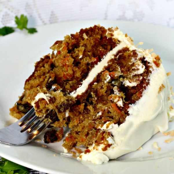 Carrot Cake With Walnuts On Top
