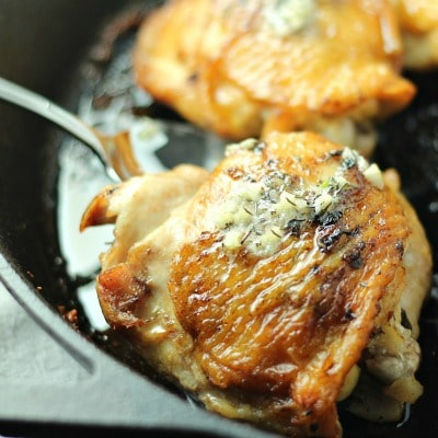 Pan Roasted Chicken Thighs with Thyme Garlic Butter