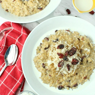 Slow Cooker Cranberry Coconut Oatmeal