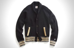 BLACK BASEBALL JACKET SWEATER BY TODD SNYDER