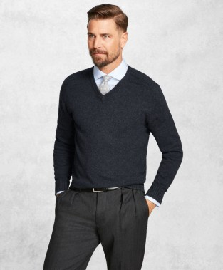 Brooks Brothers Merino Wool V-Neck Sweater-1