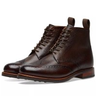Grenson Sharp Brogue Boot Dark Brown Hand Painted Grain