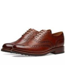Grenson Stanley Brogue Tan Hand Painted Grain