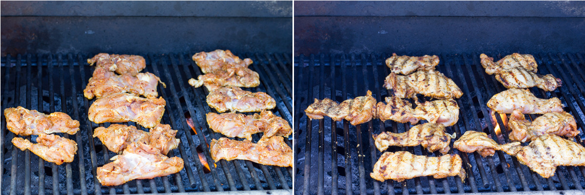Grilling the boneless, skinless thighs