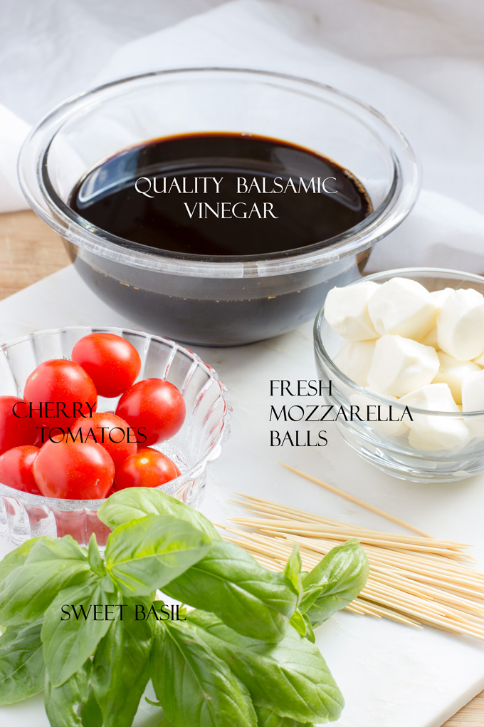 Ingredients for caprese skewers