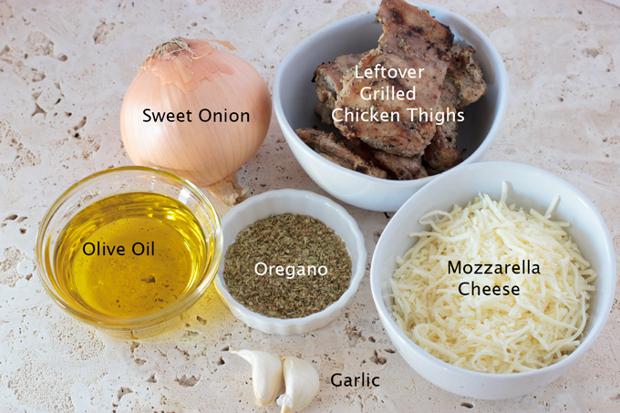 Ingredients for the grilled chicken and oregano flatbread pizza