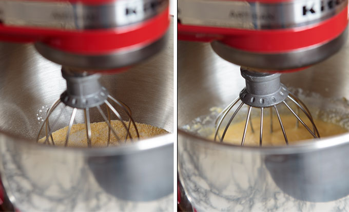 Mixing the sweet cornbread batter with the upright mixer