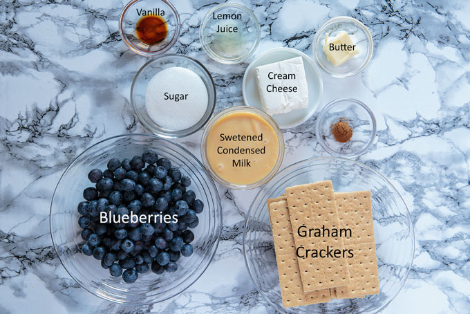 Ingredients for blueberry cheesecake shooters