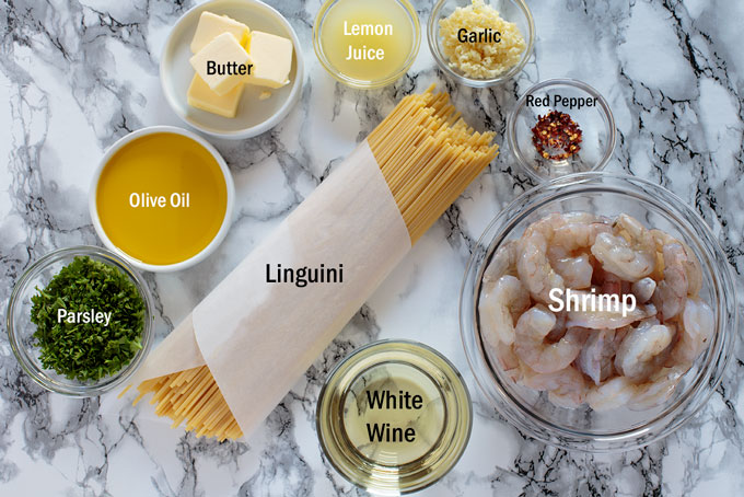 Ingredients for shrimp scampi with linguini