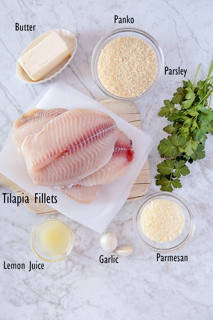 Ingredients for baked parmesan and panko tilapia