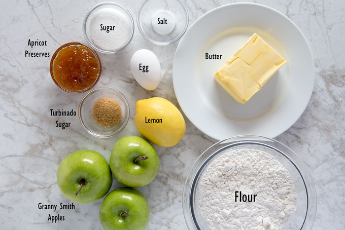 Ingredients for the apple galette