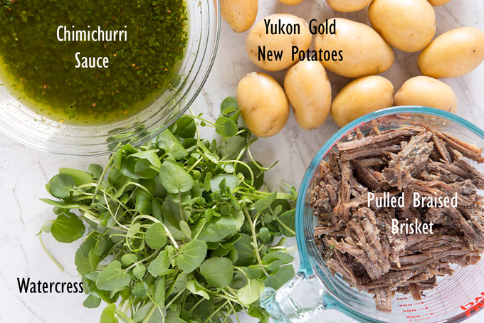 Ingredients for the leftover brisket salad with chimichurri