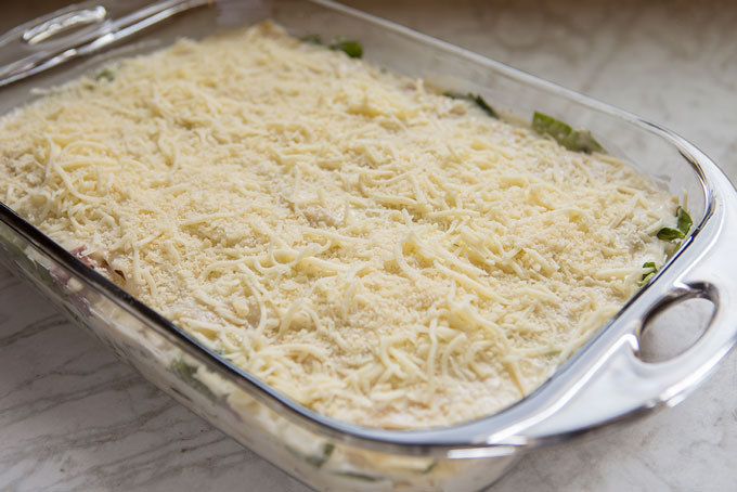 Lasagna layers ready for the oven