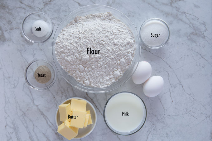 Ingredients for sweet dough