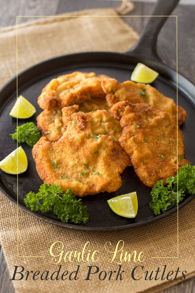 Final image of garlic lime breaded pork cutlets with text banner
