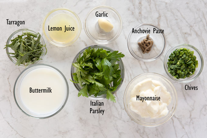 Ingredients for the green goddess dressing