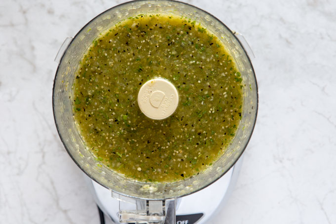 Processed salsa verde in the food processor