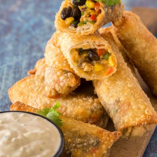 Southwest egg rolls with avocado ranch dip