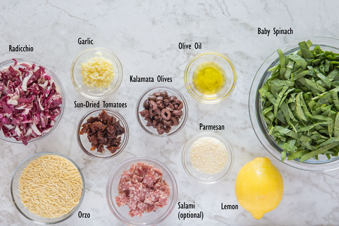 Ingredients for Mediterranean orzo