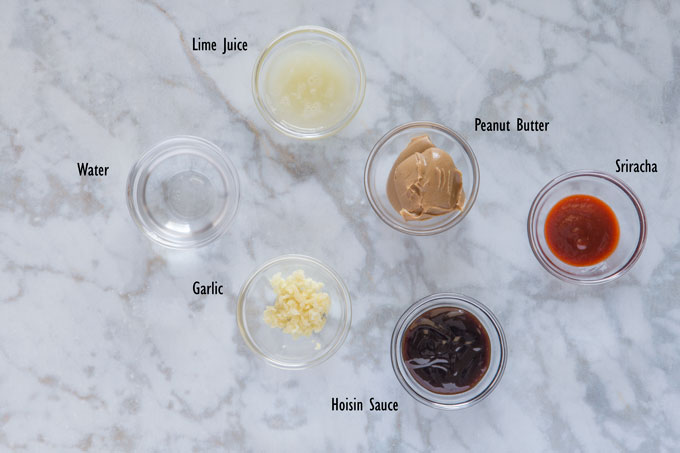 Ingredients for the peanut dipping sauce
