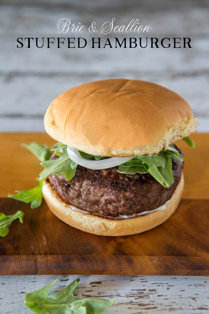 Brie and scallion stuffed burger with text banner