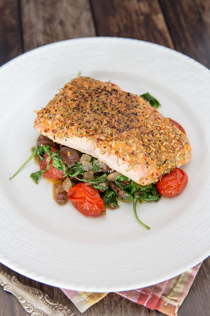 Pan Seared Salmon and Warm Arugula Salad