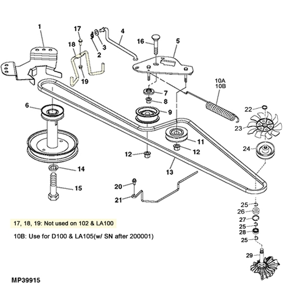 John Deere LA100/D100 Gear Transmission Parts Diagram