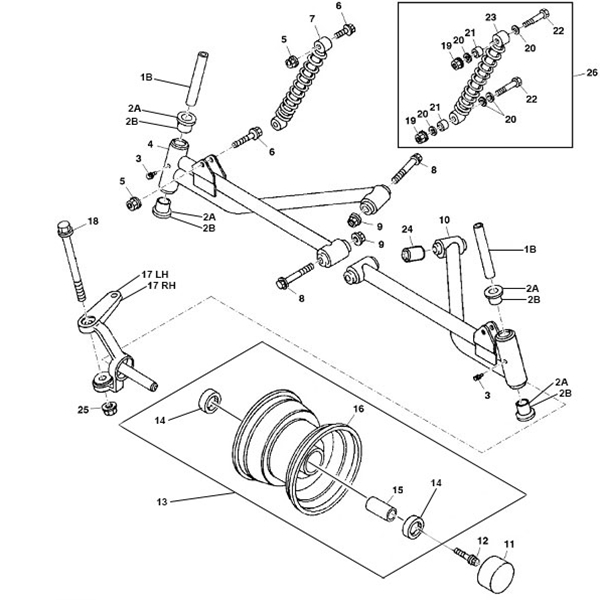 John Deere 4x2 and 6x4 Gator Suspension Parts Diagram