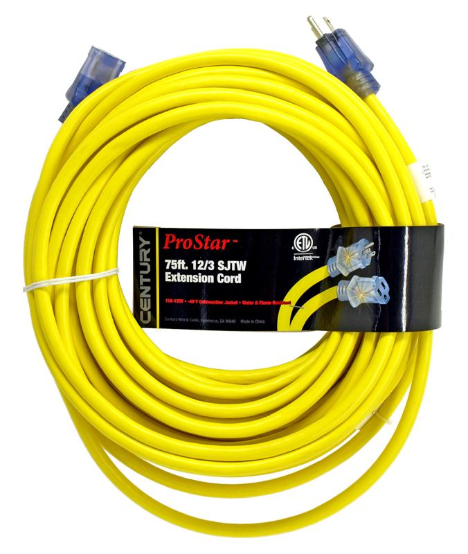 hight resolution of century wire cable 75 pro star 12 3 sjtw yellow lighted extension cord mutual screw supply
