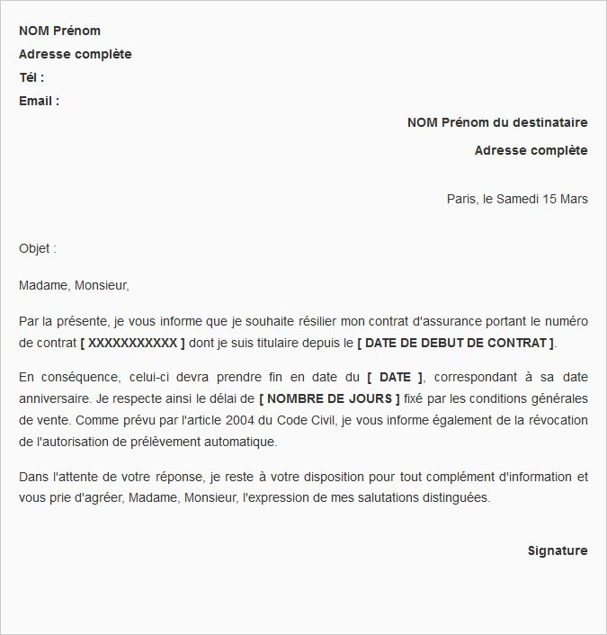lettre type resiliation complementaire sante
