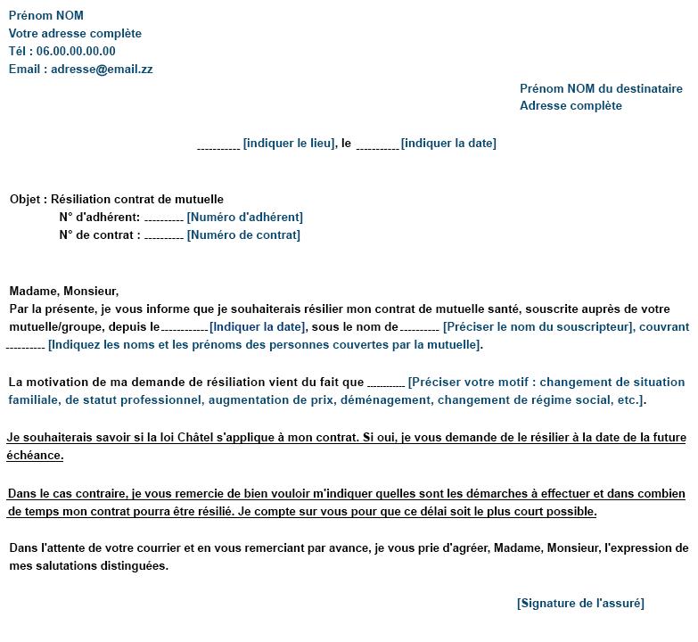 lettre de resiliation loi chatel mutuelle