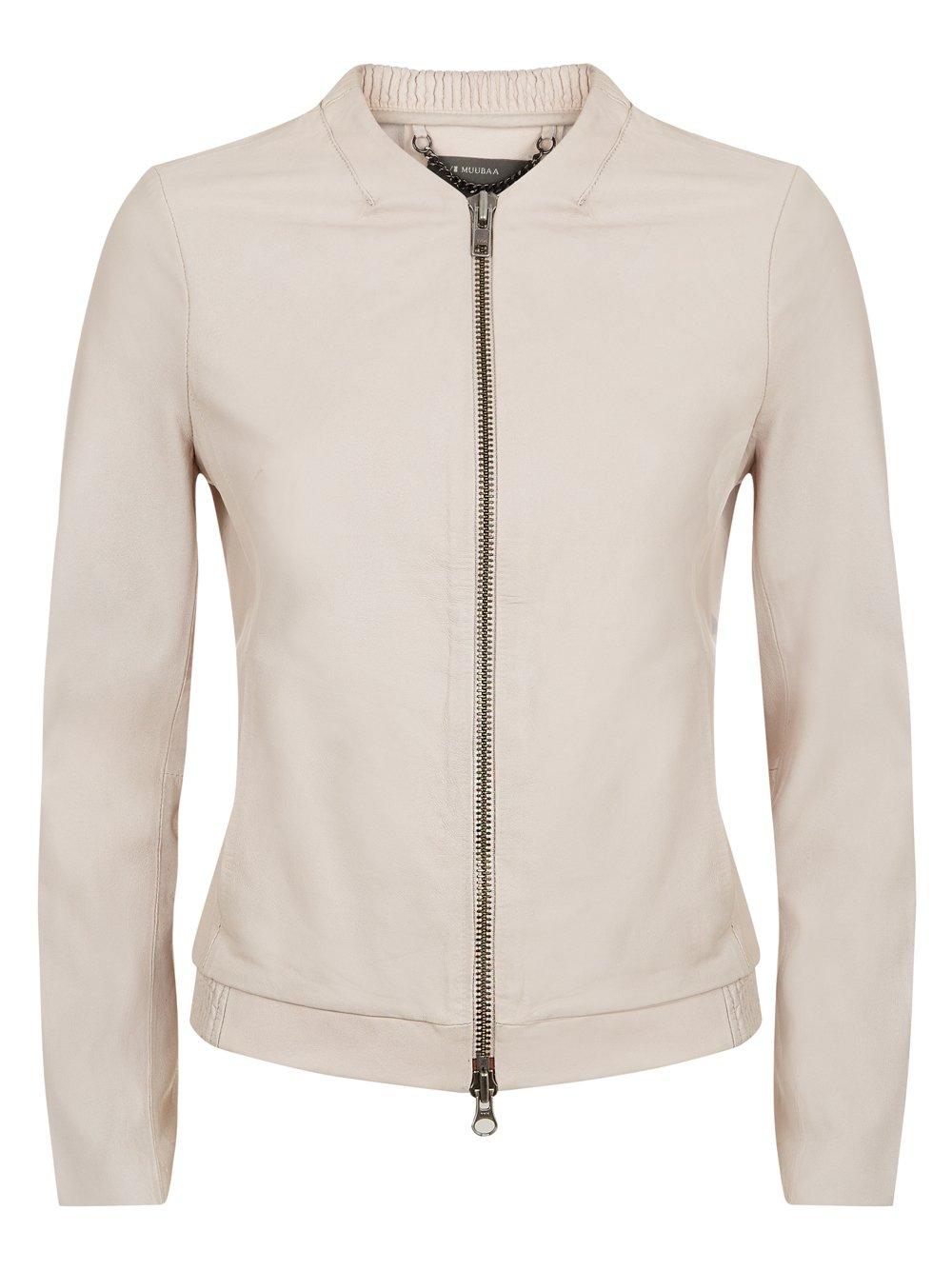 Remy Cream Leather Bomber Jacket