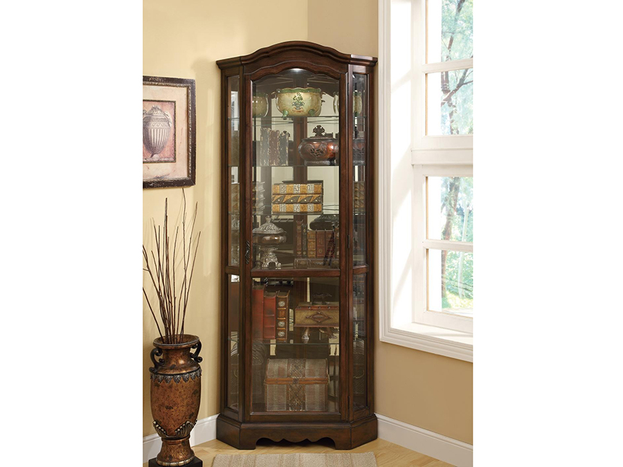 Rich Brown Glass Corner Curio Cabinet  Shop for